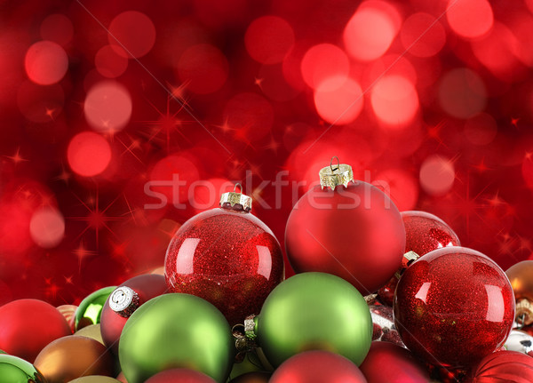 Christmas ornaments on abstract light background Stock photo © Sandralise