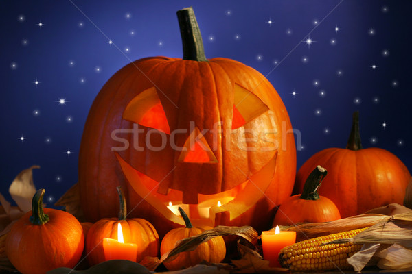 Halloween pumpkin against a starry night Stock photo © Sandralise