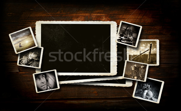 Scrap-booking  background on dark wood Stock photo © Sandralise