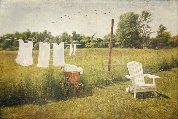 White cotton clothes drying on a wash line  Stock photo © Sandralise