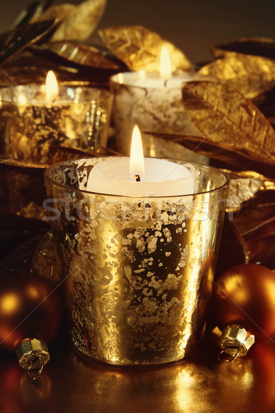 Candles lit with a sparkling gold theme  Stock photo © Sandralise