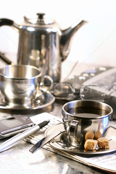 Hot cup of coffee for a relaxing break Stock photo © Sandralise