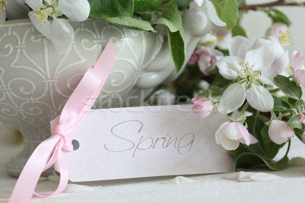 Apple blossom flowers in vase with gift card  Stock photo © Sandralise