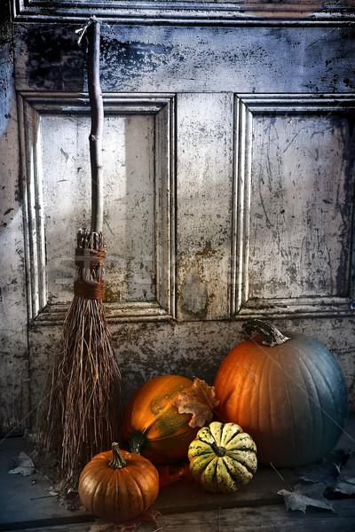 Halloween noc miotła drzwi gotowy Zdjęcia stock © Sandralise