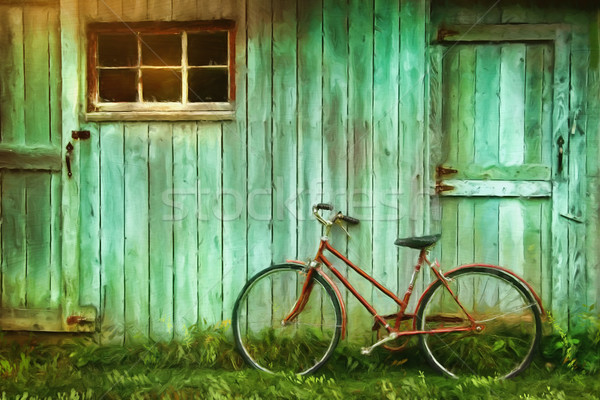 Digital Painting of old bicycle  against  barn Stock photo © Sandralise