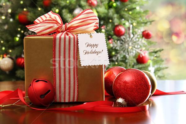 Karácsony ajándék ül asztal fa doboz Stock fotó © Sandralise