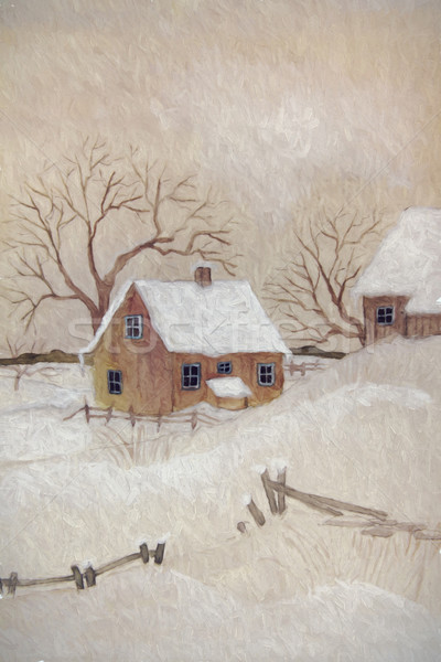 Winter scene with farmhouse, digitally altered Stock photo © Sandralise