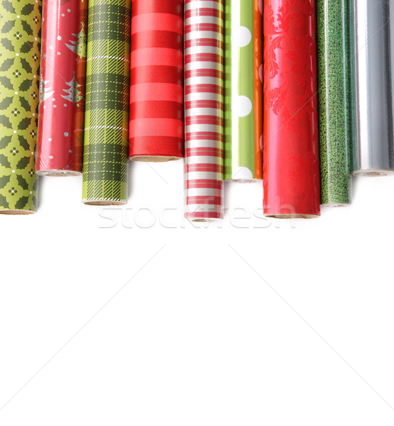 Rolls of colored wrapping  paper on white3 Stock photo © Sandralise