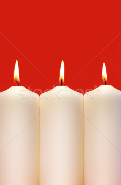 Three white holidays candles  Stock photo © Sandralise