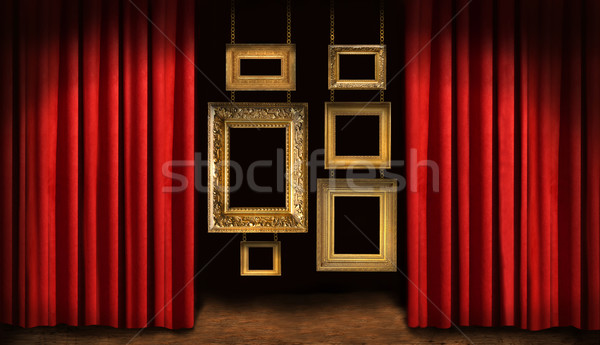 Gold frames with red drapes Stock photo © Sandralise