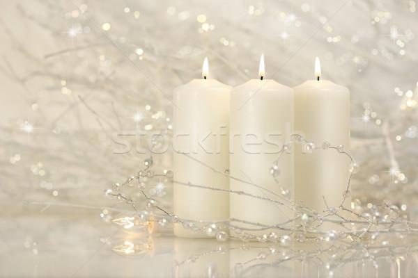 Three white candles  Stock photo © Sandralise