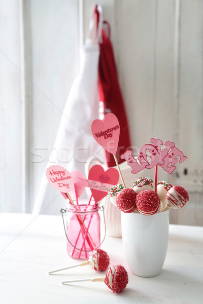 Stock photo: Red and white cake pops with decorations for Valentine's Day