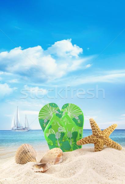 Szandál kagylók homok óceán égbolt nap Stock fotó © Sandralise