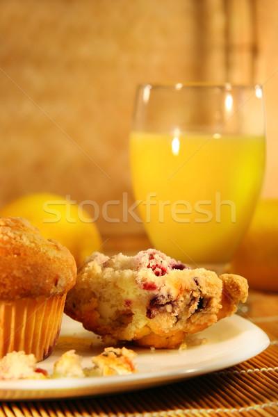 Muffins sinaasappelsap gezonde ontbijt bamboe Stockfoto © Sandralise