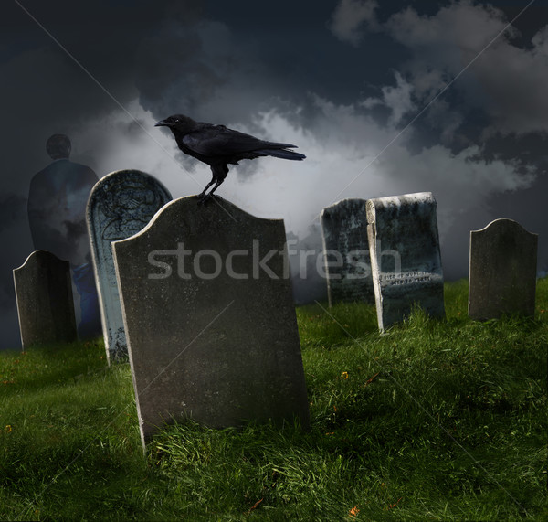 Stock photo: Cemetery with old gravestones
