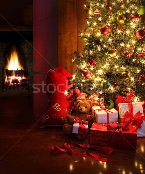 Christmas scene with tree and fire in background Stock photo © Sandralise