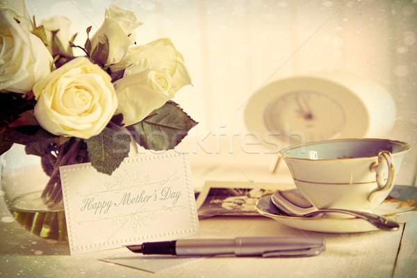 Photo stock: Roses · note · carte · mères · jour · vintage