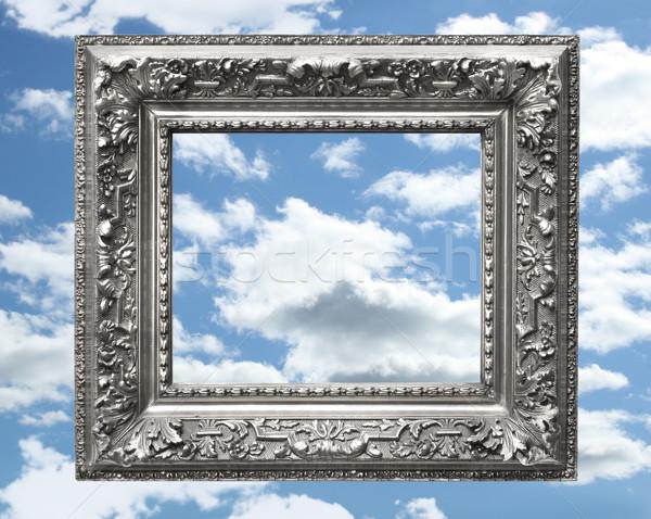 серебро фоторамка Blue Sky лет пространстве Vintage Сток-фото © Sandralise