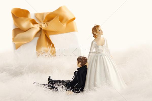 Stok fotoğraf: Düğün · pastası · hediye · beyaz · altın · şerit · düğün