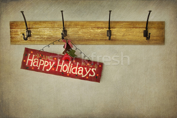 Holiday sign on antique plaster wall Stock photo © Sandralise