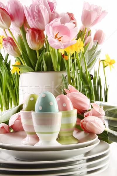 Сток-фото: пасхальных · яиц · весенние · цветы · белый · счастливым · яйцо