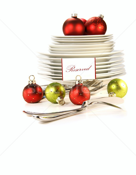 Festive placecard holders with plates and cutlery  Stock photo © Sandralise