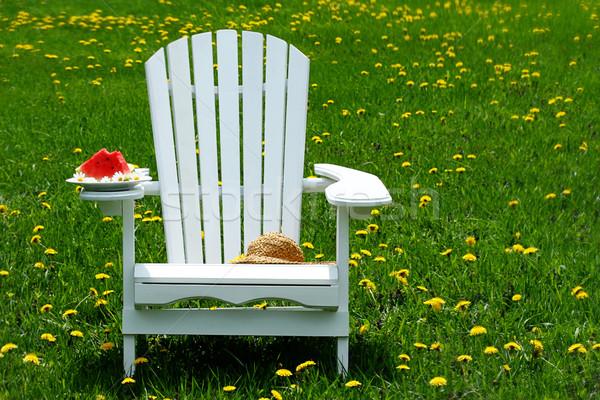Slice of watermelon on adirondack chair Stock photo © Sandralise