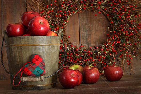 Apples in wood bucket for holiday baking Stock photo © Sandralise