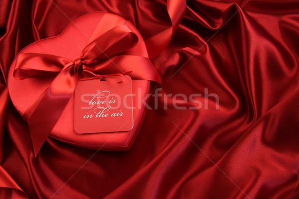 Schokolade Feld Geschenkkarte Satin Liebe Raum Stock foto © Sandralise