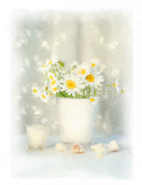 Digital watercolor of white daisies and seashells  Stock photo © Sandralise