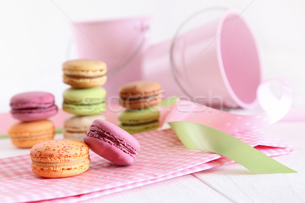Delicious French Macaroons on table Stock photo © Sandralise