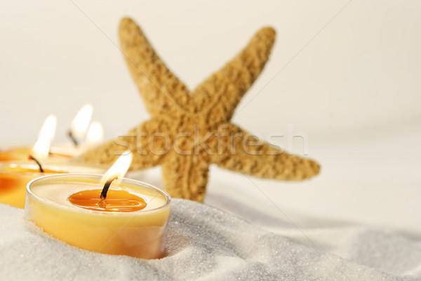 Photo stock: Thé · lumière · bougies · sable · star · poissons