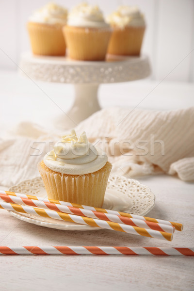 Sweet vanilla cupcake with straws Stock photo © Sandralise