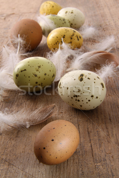 Speckled easter eggs  on wooden table  Stock photo © Sandralise
