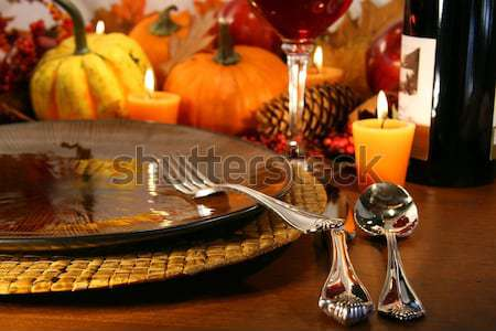 Place settings ready for Thanksgiving Stock photo © Sandralise