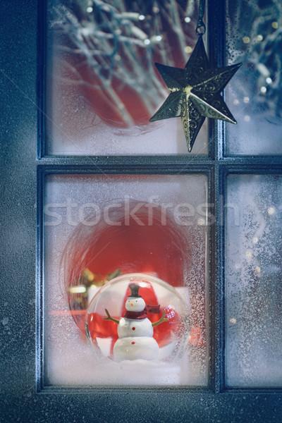Foto d'archivio: Finestra · Natale · decorazione · notte · albero