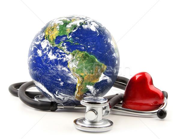 Foto stock: Estetoscópio · globo · branco · médico · mundo · hospital