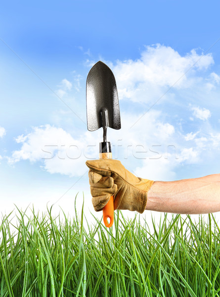 Hand holding garden trowel against blue sky Stock photo © Sandralise
