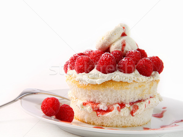 Raspberry and whip cream cupcakes on white  Stock photo © Sandralise