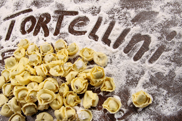 Taze tortellini un tablo ahşap masa Stok fotoğraf © Sandralise