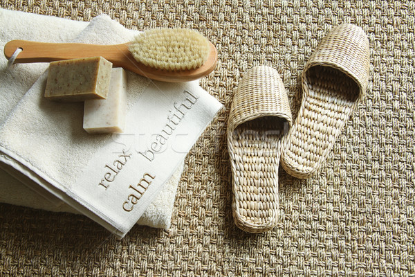 Straw slippers with spa accessories  Stock photo © Sandralise