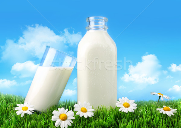Stock photo: Bottle and glass of milk with grass and daisies