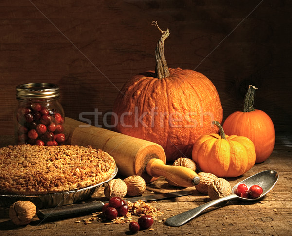 Freshly baked pie with pumpkin , nuts and cranberries Stock photo © Sandralise