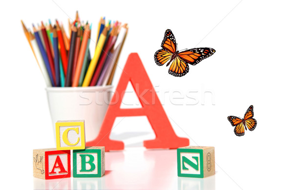 Wooden building blocks with pencils  Stock photo © Sandralise