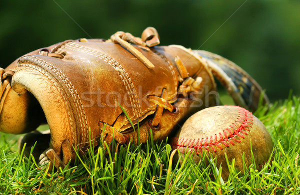 Old glove and baseball Stock photo © Sandralise