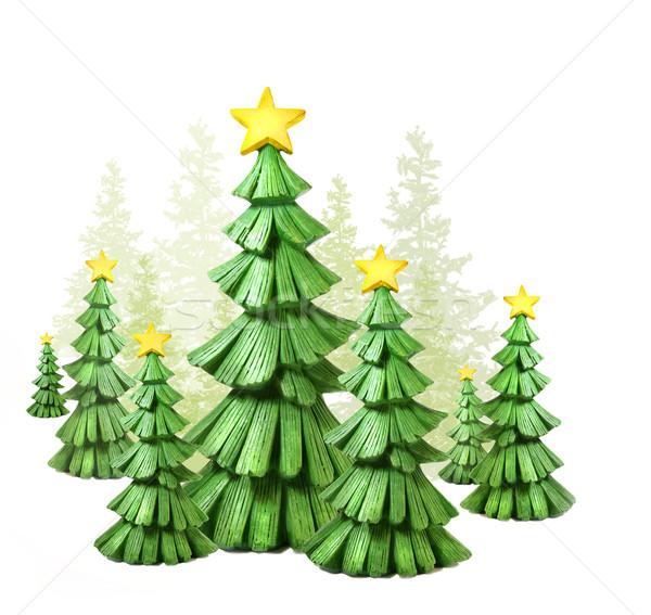 Christmas bomen witte textuur hout winter Stockfoto © Sandralise