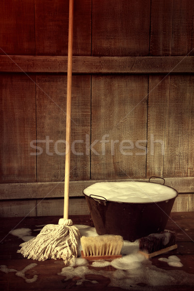 Cleaning mop and bucket with wet soapy floor Stock photo © Sandralise