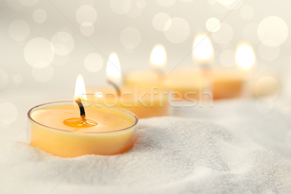 Bougies sable maison verre spa flamme Photo stock © Sandralise