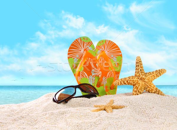 Zand zeester paar strand oranje Stockfoto © Sandralise