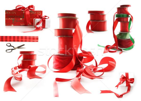 Différent rouge cadeau cases blanche Photo stock © Sandralise